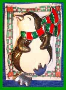 Christmas PIN #0264 Penquin Enamel & Silvertone-Red & Green Scarf Holiday Brooch