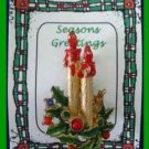 Christmas PIN #0254 Double Candle-Green Holly Rhinestones-Beads Goldtone HOLIDAY