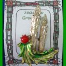 Christmas PIN #0252 Double Candle & Green Holly w/Red Berry Goldtone HOLIDAY