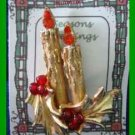 Christmas PIN #0250 ART Double Candle & Holly w/Red Berry Beads Goldtone Brooch