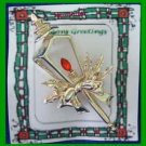 Christmas PIN #0248 Pole Lantern Candle with Holly & Red Crystal Flame Goldtone