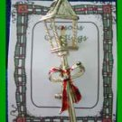 Christmas PIN #0245 GERRYS VTG Pole Lantern Candle with Red Bow Goldtone HOLIDAY