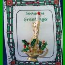 Christmas PIN #0225 Gerrys Candle Goldtone Green &Red Holly wAladin Style Holder
