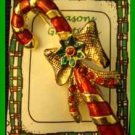 Christmas PIN #0218 Candy Cane Red & Goldtone Green Flower on Bow & Red Beads