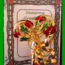 Christmas PIN #0215 Double Candy Cane & Holly with Beads Red Enamel & Goldtone