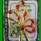 Christmas PIN #0212 Vintage Double CandyCane Red & Green Enamal Goldtone BROOCH