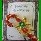 Christmas PIN #0209 Signed AAI Vintage Candy Cane Red & Green Enamal & Goldtone
