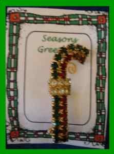 Christmas PIN #0205 Candy Cane Red, Green & White Rhinestones & Goldtone Brooch
