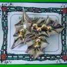 Christmas PIN #0203 Vintage Holly Leaves & Berries Silvertone HOLIDAY Brooch