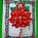 Christmas PIN #0200 Signed AJMC Pixie/Clown Red & Silvertone Poinsettia HOLIDAY