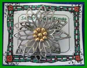 Christmas PIN #0194 Pewter/Silvertone Poinsettia wGoldtone Center HOLIDAY Brooch