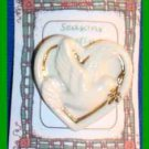 Christmas PIN #0168 Signed LENOX Porcelain Dove in Heart with Goldtone Trim
