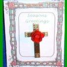 Christmas PIN #0154 Cross Goldtone Tac Pin with Red Enamel Rose VGC Lapel
