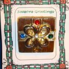 Christmas PIN #0152 Gift Package Goldtone & Rhinestones/Crystals HOLIDAY Brooch