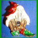 Christmas PIN #0145 Red Cardinal Birdhouse Goldtone & Enamel HOLIDAY Brooch RARE