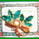 Christmas PIN #0142 VTG Holly & Crystal Berries Enamel Leaves HOLIDAY Brooch VGC