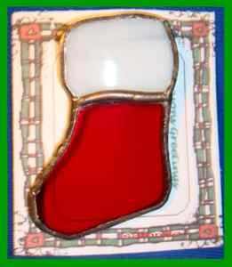 Christmas PIN #0120 Red Stocking Stained Glass Suncatcher-Ornament-Pin-Brooch