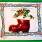 Christmas PIN #0119 Red Stocking Santa Boot Swarovski Rhinestone Goldtone-Enamel