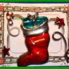 Christmas PIN #0118 Red Stocking Star Candy Cane & Gift Goldtone-Enamel HOLIDAY
