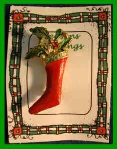 Christmas PIN #0116 Stocking & Holly Enamel Red & Green on Goldtone