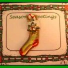Christmas PIN #0115 Stocking Gold & Red Enamel Candy Cane Bow Tac Pin ~Goldtone~