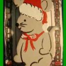 Christmas PIN #0113 Wooden Christmas Mouse with Santa Hat HOLIDAY Brooch