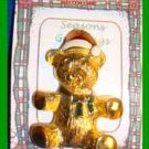 Christmas PIN #0108 Vintage Teddy Bear Red & White Hat-Green Enamel Bow Goldtone