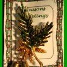 Christmas PIN #0099 VTG Pine Bough, Pine Cones & 2 Jingle Bells Goldtone HOLIDAY