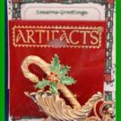 Christmas PIN #0092 Artifacts Sleigh-Candy Cane Goldtone-Red-Green Enamel Holly