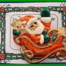 Christmas PIN #0091 Sleigh & Santa, Goldtone w/Red, Green & White Enamel HOLIDAY