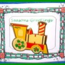 Christmas PIN #0078 Train Goldtone Enamel Green, Red & Yellow VGC