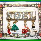 Christmas PIN #0066 VTG NOEL Goldtone-Enamel Danglg Charms-stockg-tree-candycane
