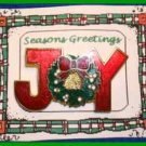 Christmas PIN #0057 JOY Red Enamel with Wreath ~Goldtone~