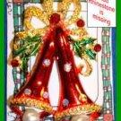 Christmas PIN #0047 Double Bells Red Enamel White Rhinestones & Grn Enamel Holly