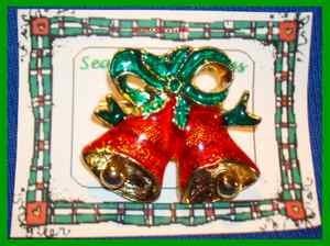 Christmas PIN #0040 Bells Goldtone & Red with Green Ribbon Enamel ~Goldtone~ VGC