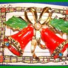 Christmas PIN #0034 VTG Double Bell w/Green-Red Enamel Holly faux pearl GOLDTONE