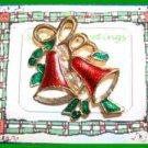 Christmas PIN #0032 VTG Bell w/Red Enamel & Green Enamel Holly ~Goldtone~ VGC