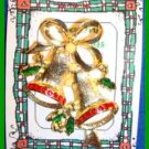 Christmas PIN #0028 No Mark 2 Bells Goldtone & Red Rhinestone Green Enamel Holly