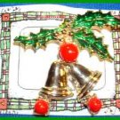 Christmas PIN #0027 VTG Double Bell w/Red Clapper & Green Enamel Holly~Goldtone~