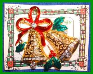 Christmas PIN #0026 Bells Goldtone Swarovski Crystal Rhinestones Red Enamel Bow