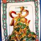 Christmas PIN #0025 VTG Bell w/Red Enamel Bow & Green Enamel Holly~Goldtone~ VGC