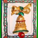 Christmas PIN #0024 VTG Signed GERRYS Bell Holly Bow Goldtone Red ClapperHOLIDAY