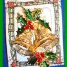 Christmas PIN #0022 No Mark 2 Bells Holly Green Enamel Red Rhinestone Berries