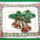 Christmas PIN #0018 VTG Not Signed 2 Bells Enamel Green & Red ~Goldtone HOLIDAY