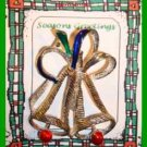 Christmas PIN #0016 VTG GERRY Two Bell Enamel w/Bow Silvertone HOLIDAY Brooch