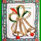 Christmas PIN #0014 VTG GERRYS Two Bell Enamel w/Bow Goldtone HOLIDAY Brooch VGC