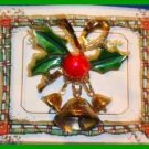 Christmas PIN #0007 VTG Not Signed 3 Bells Holly Bow Goldtone HOLIDAY Brooch/Pin