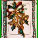 Christmas PIN #0002 VTG Not Signed Bells Holly Bow Goldtone HOLIDAY