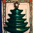 Christmas PIN #0441 Home Interiors Green Tree Pin ~Goldtone & Faceted Star~RARE
