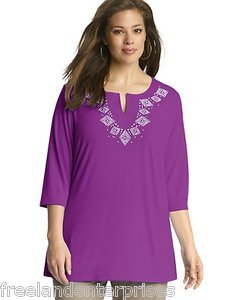 Clothing Just My Size Stud Tunic Top ~Purple Torch Color~ Size 1XL (16W) NWOT